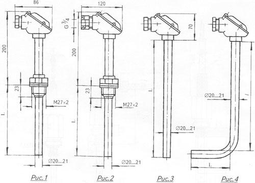 Габаритный чертеж термопреобразователей температуры ТХА, ТХК-2388
