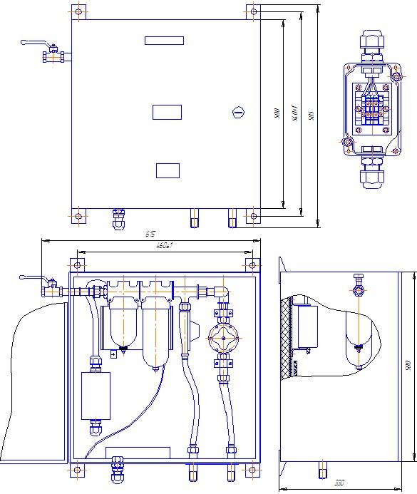 Схема габаритных размеров Шкафа ШКВ