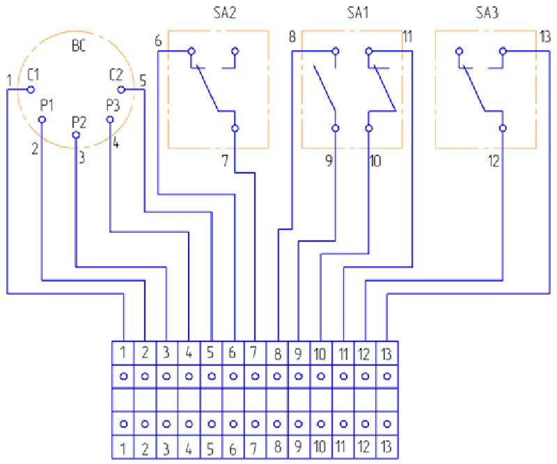 Электросхема соединений командоаппарата SA1, SA2