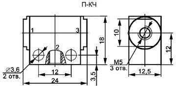 Пневмоклапан П-КЧ габаритная схема