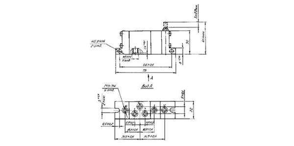 П-КМ пневмоклапан - габаритная схема