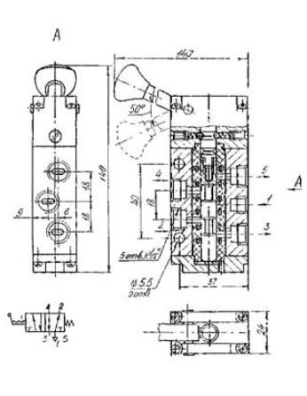 Схема габаритных размеров П-Р4Ф2.200-Р1