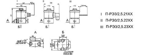 Схема габаритных размеров П-РЭ3/2,5.21ХХ