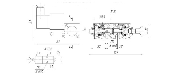 Схема габаритных размеров пневмораспределителей П-РК5