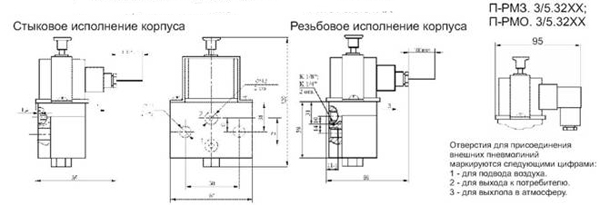 Схема Пневмораспределители П-РМ3.3/5.31ХХ