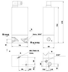 Пневмоклапаны редукционные П-КРЭ6 - габаритная схема