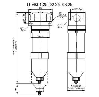Фильтр П-МК01.25, 02.25, 03.25 - габаритная схема
