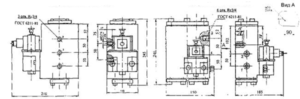 Схема габаритных размеров РЭП1-1.20