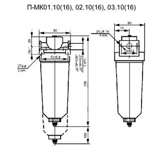 Фильтр П-МК01 габаритная схема