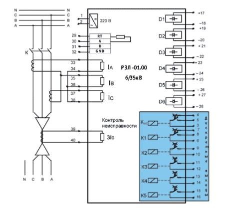 """Схема подключения внешних цепей с двумя ТТ к устройству """"РЗЛ-01.00"""""""
