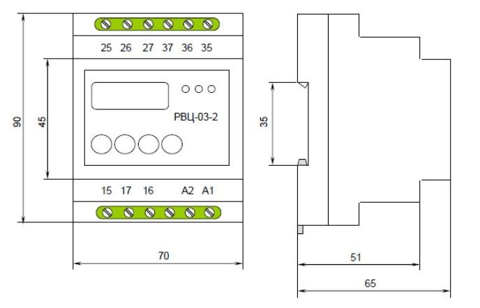 Схема габаритных размеров Реле времени РВЦ-03-01