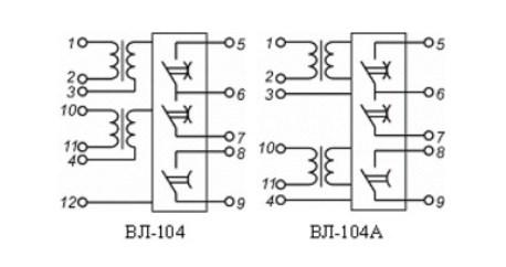 Схема подключений реле времени ВЛ-104
