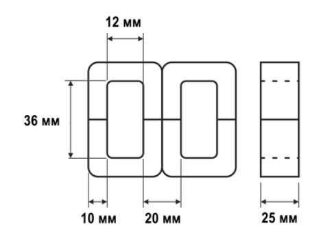 Схема магнитопровода ШЛМ 20х25