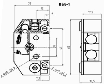 Рис.1. Габаритный чертеж выключателя ВБ-5-1