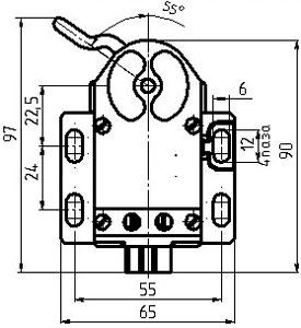 Рис.1. Габаритный чертеж выключателя ВП85-19-1112-20 УХЛ3