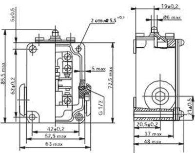 Габаритный чертеж выключателяВПК 2110