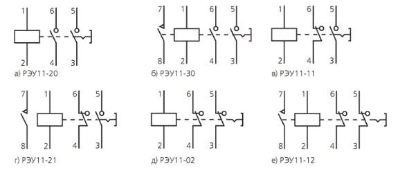 Схема подключения реле РЭУ-11