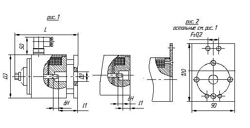 Схема габаритных и присоединительных размеров электромагнита ЭМТ-15