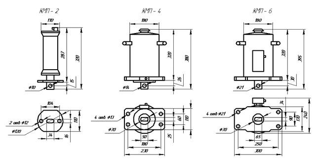 Схема габаритных и присоединительных размеров электромагнитов КМП