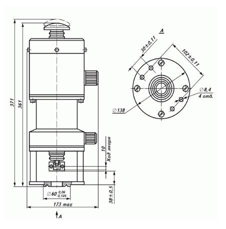Схема габаритных и присоединительных размеров электромагнита ЭМТ 5-36