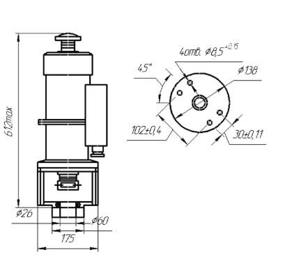 Схема габаритных и присоединительных размеров ЭМТ 3-36
