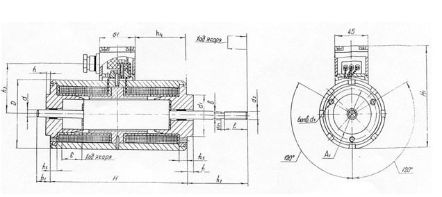 Схема габаритных размеров электромагнита ЭМТ-31