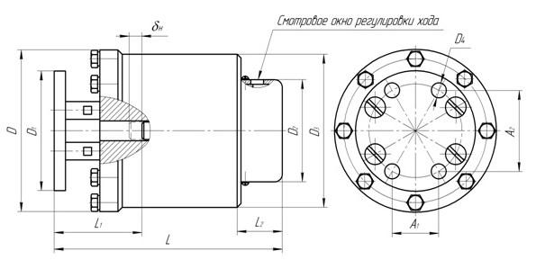 Схема габаритных и присоединительных размеров электромагниты МП-201