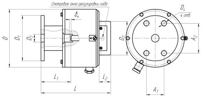 Схема габаритных и присоединительных размеров МП-301