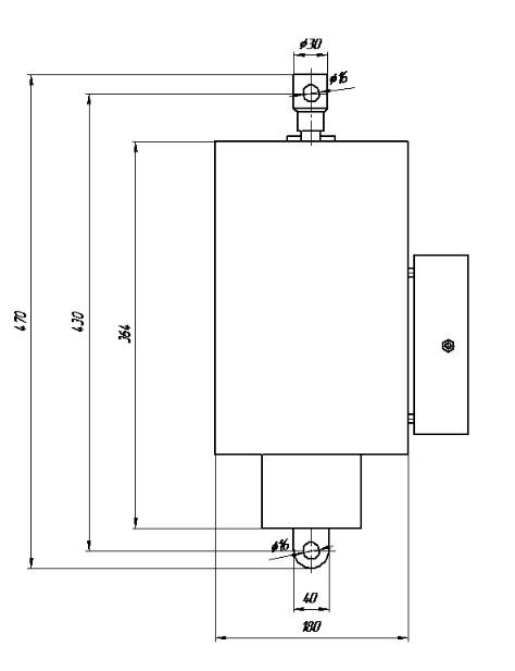 Схема габаритных и присоединительных размеров электромагнитов ЭМТ 23-5