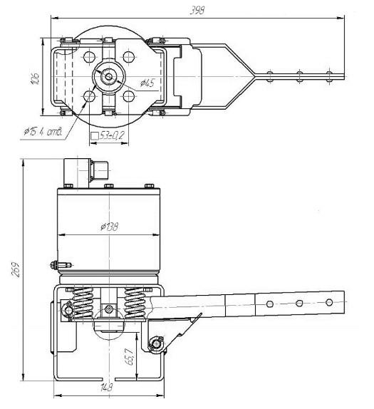 Схема габаритных и присоединительных размеров ЭМИК-40