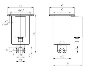 Схема габаритных размеров электромагнита ЭДМ-10