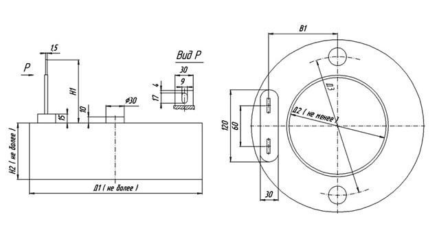 Схема габаритных размеров ТКП-400, ТКП-600