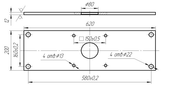 Схема габаритных размеров КЭП-800, КЭП-1000, КЭП-1300
