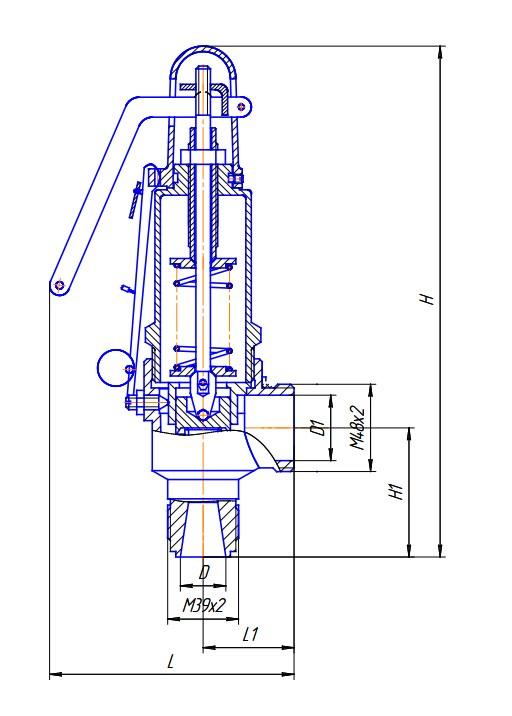 Схема габаритных размеров Клапана УФ55105-025