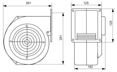 Рис.1. Размер М+М вентилятора G2E 180 EH 03-01