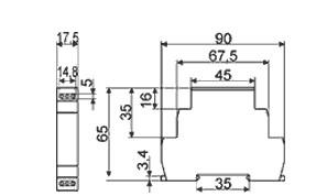 Схема габаритных размеров Реле ВЛ-164