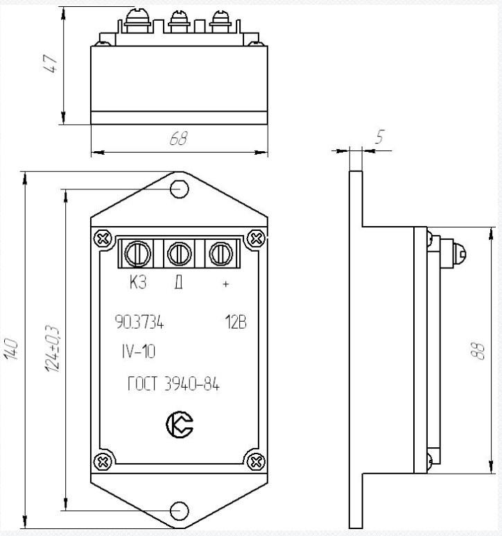 Схема габаритных размеров Коммутатора 90.3734