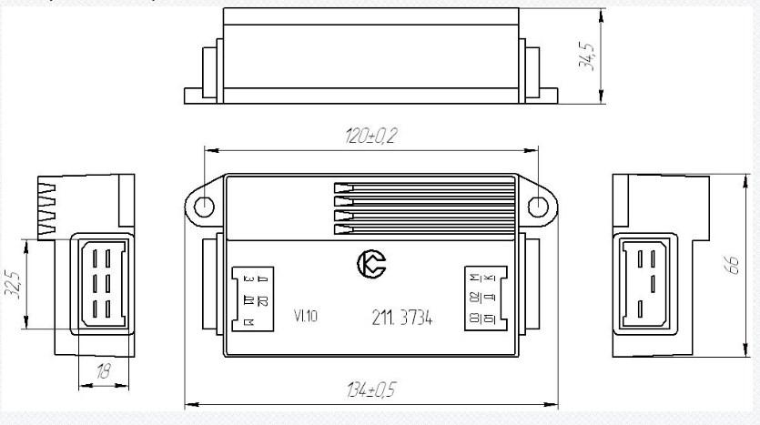 Схема габаритных размеров Коммутатора 211.3734