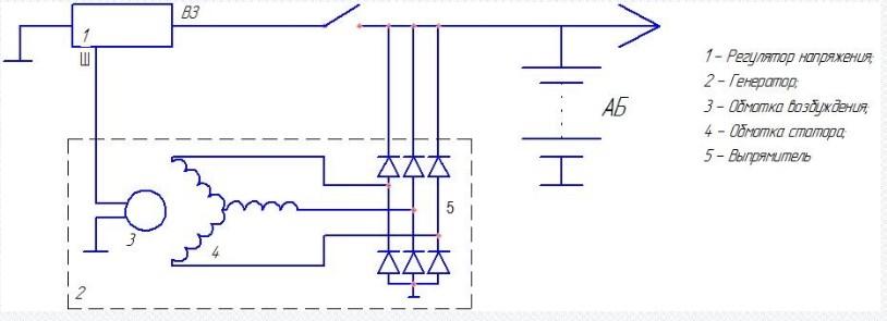Схема подключения Регулятора напряжения 22.3702-01