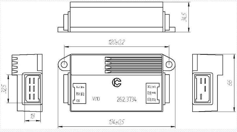 Схема габаритных размеров Коммутатора 262.3734