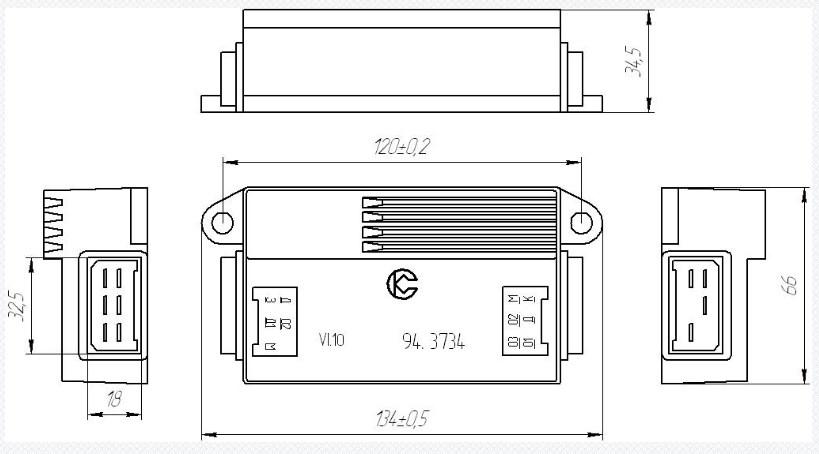 Схема габаритных размеров коммутатора 94.3734