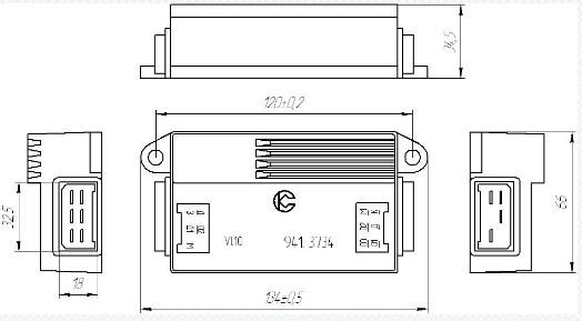 Схема габаритных размеров Коммутаторов 941-3734
