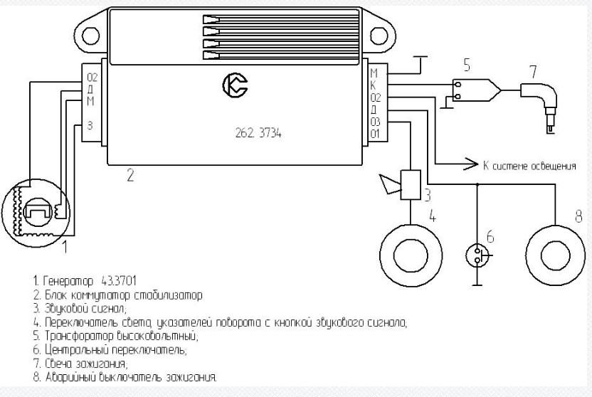 Схема подключения коммутатора 262.3734