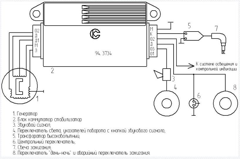 Схема подключения коммутатора 94-374