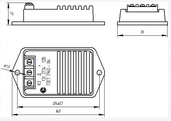 Схема габаритных размеров Коммутатора ТК-102