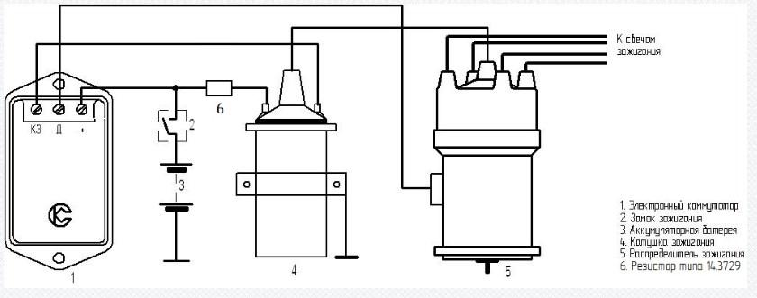 Схема включения в систему зажигания