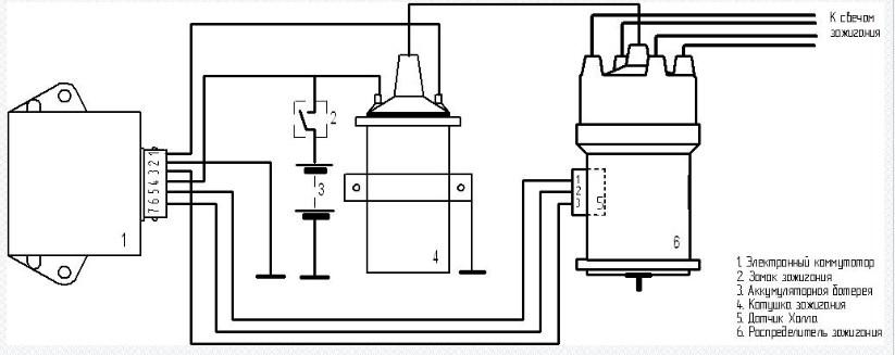 Схема включения в систему зажигания коммутатора 178.3734