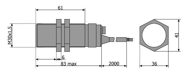 Схема габаритных размеров Датчика ВБШ-03