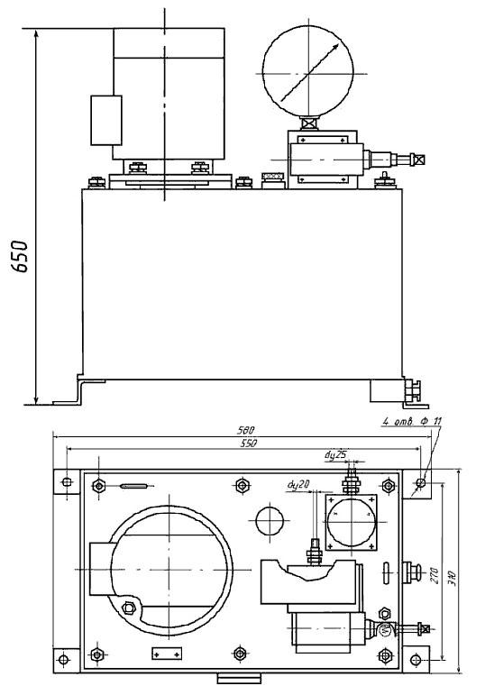Схема габаритных размеров Маслонасосной станции МСА