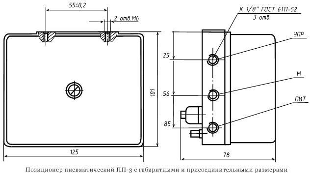 Позиционер пневматический ПП-3 с габаритными и присоединительными размерами